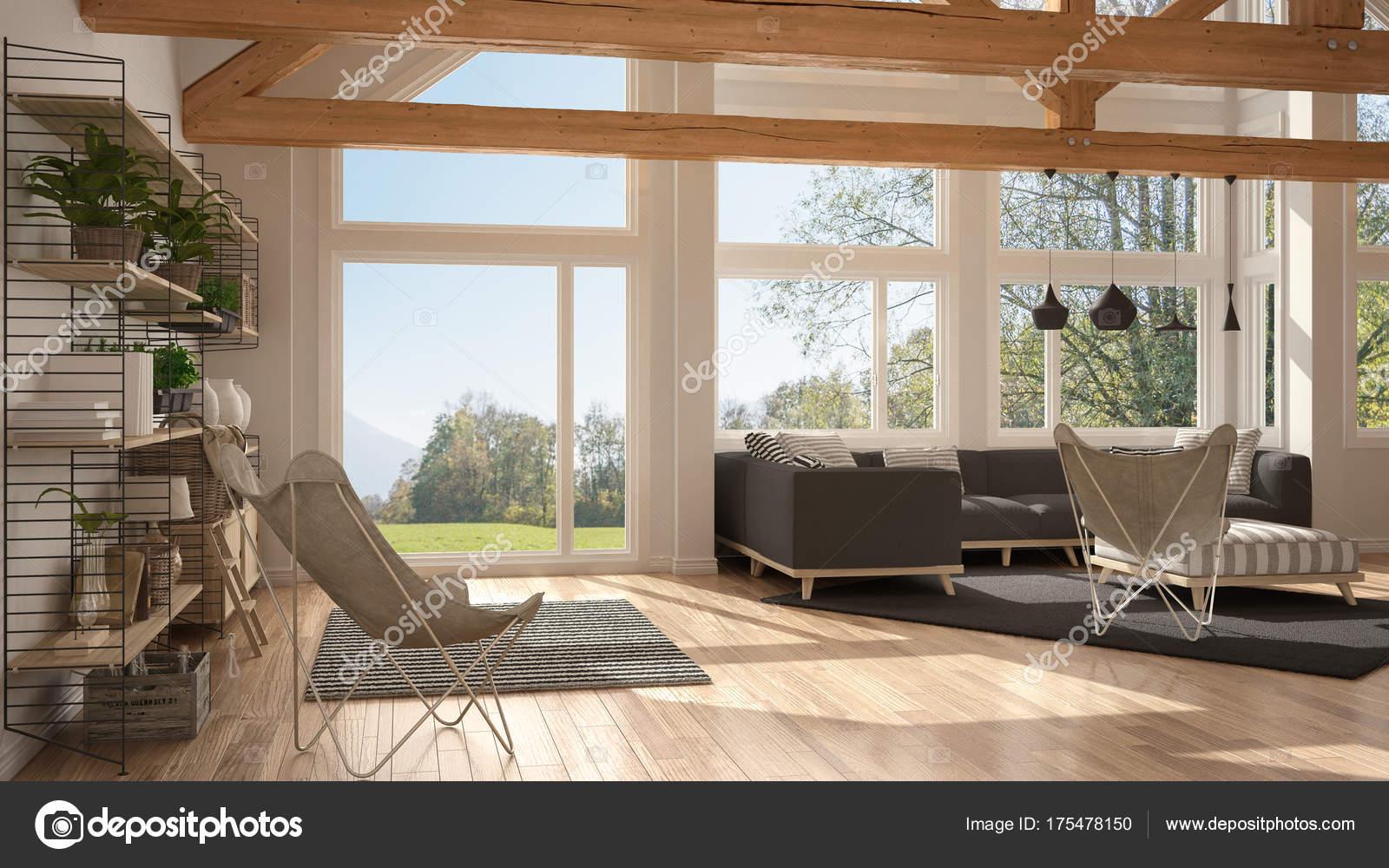 Living Room Of Luxury Eco House Parquet Floor And Wooden Roof T Stock Photo C Archiviz 175478150