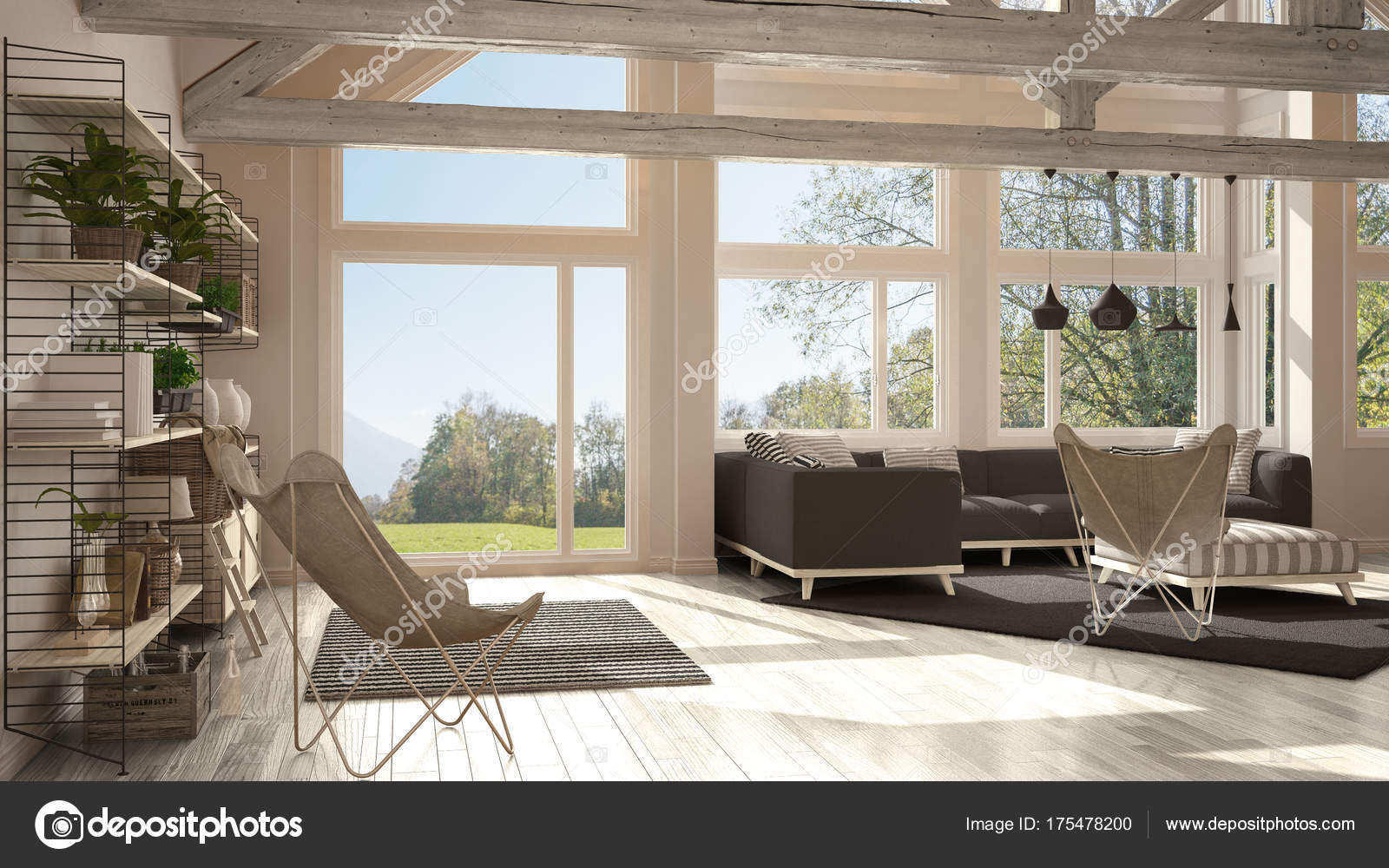 Living Room Of Luxury Eco House Parquet Floor And Wooden Roof T