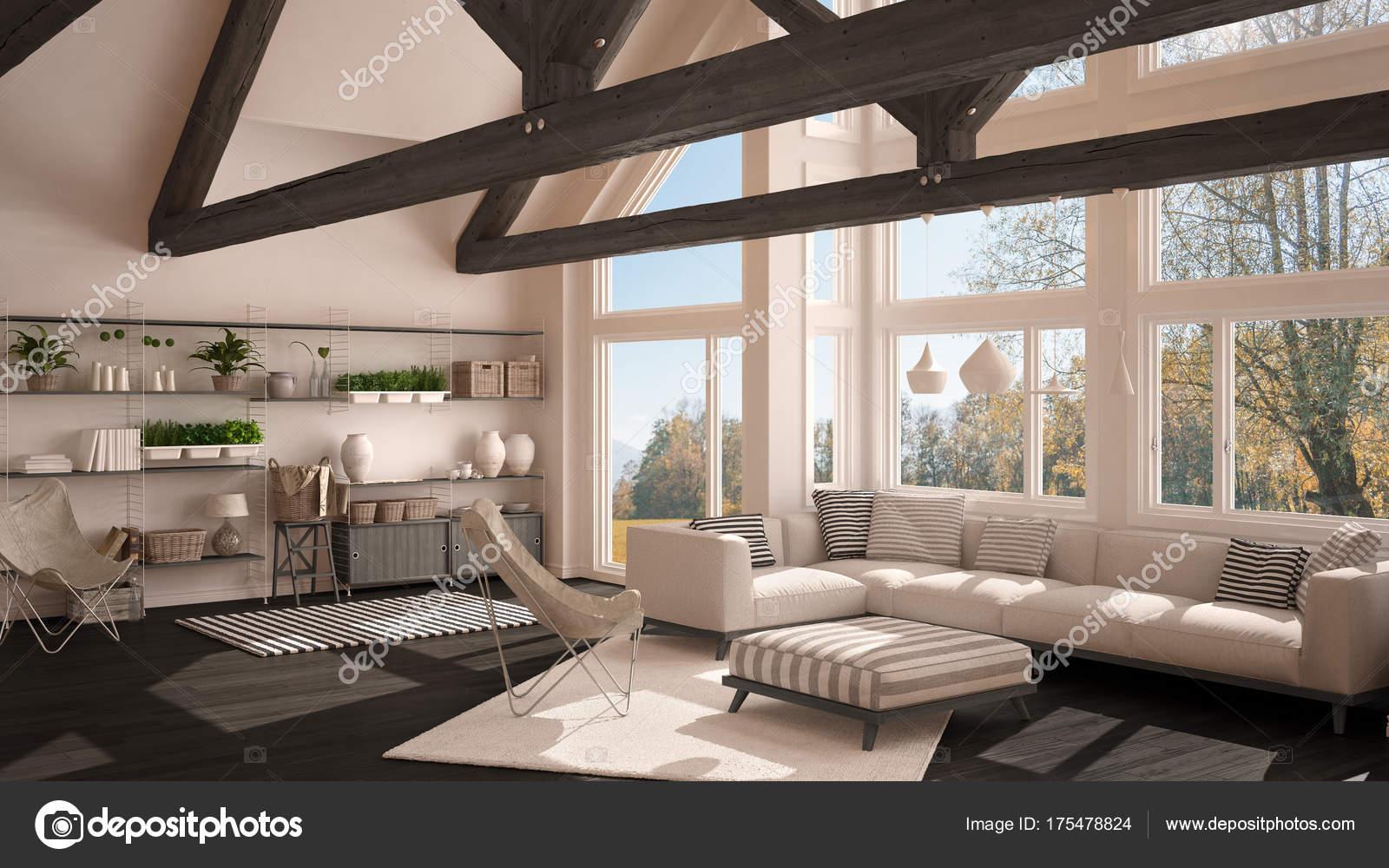 Living Room Of Luxury Eco House Parquet Floor And Wooden Roof T Stock Photo C Archiviz 175478824