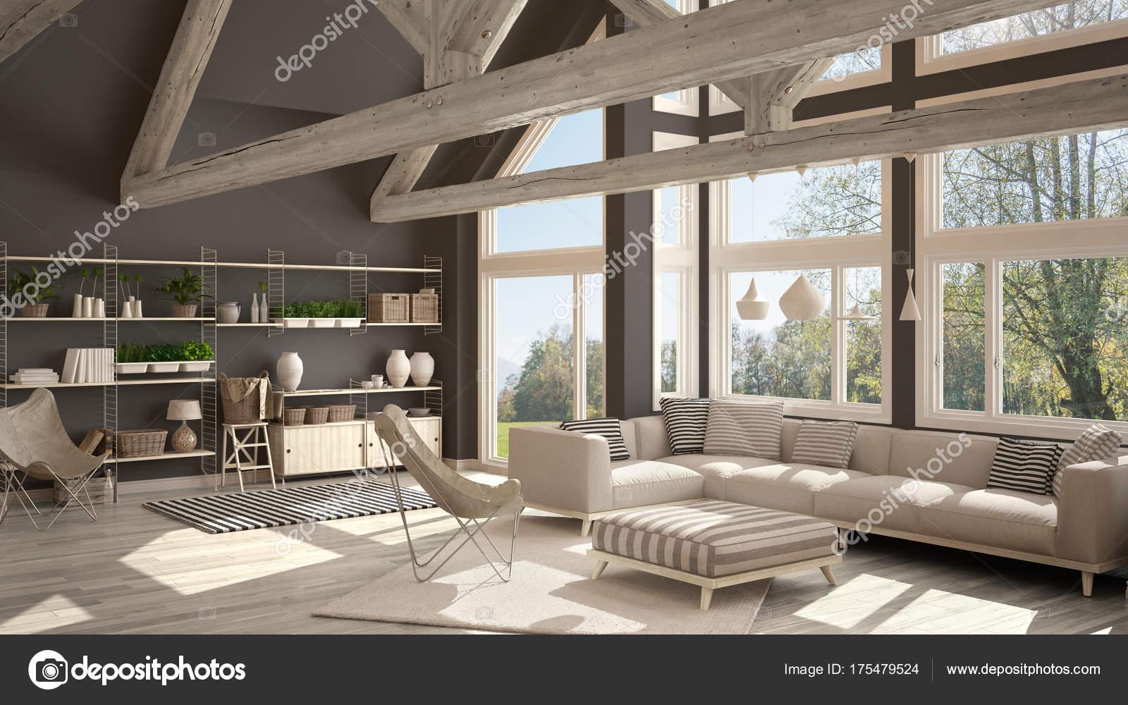 Living Room Of Luxury Eco House Parquet Floor And Wooden Roof T Stock Photo C Archiviz 175479524