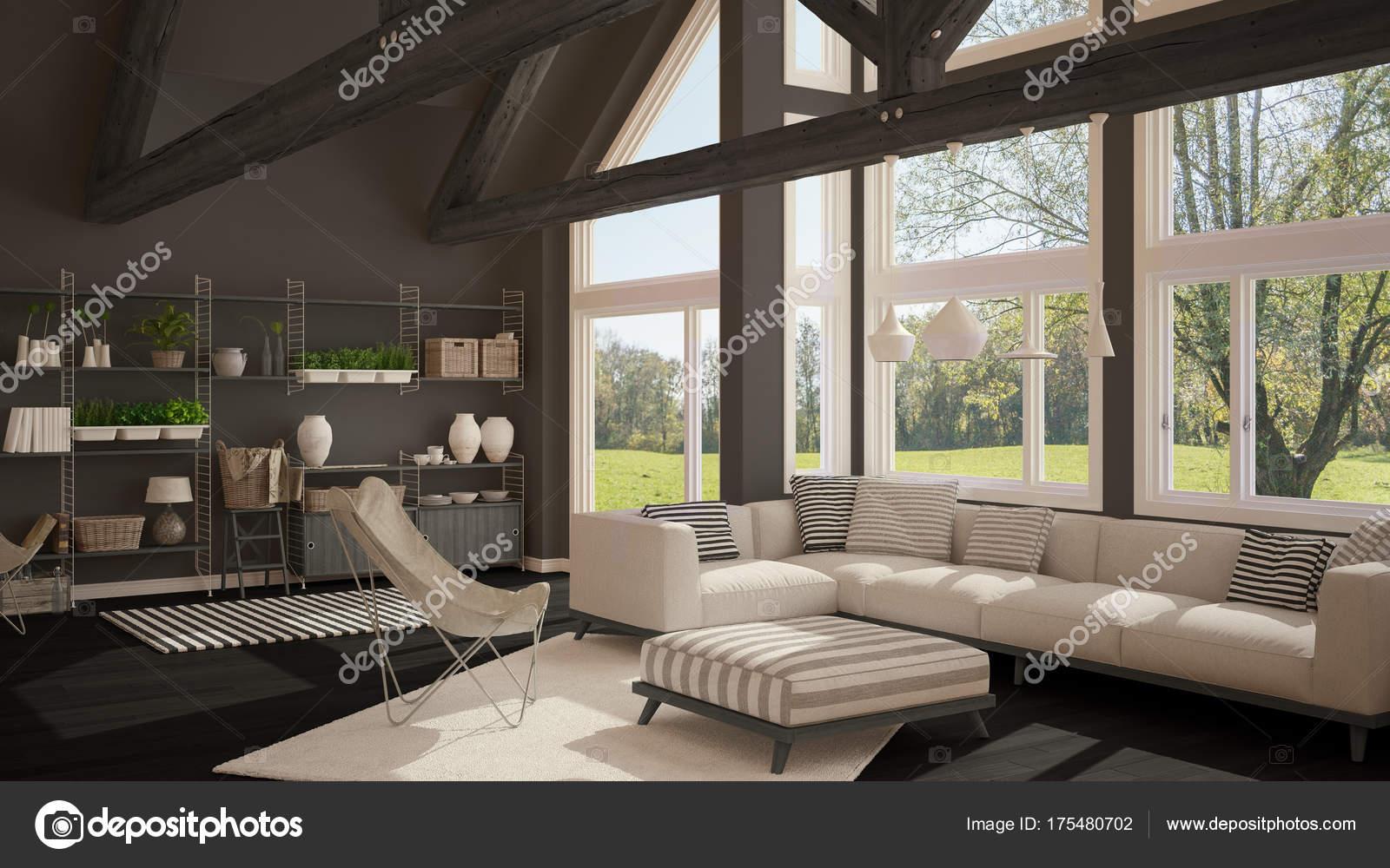 Soggiorno di lusso eco house pavimento in parquet e tetto in legno t foto stock archiviz - Soggiorni di lusso ...