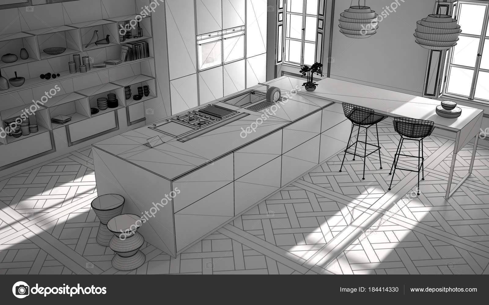 Unvollendete Projekt der moderne Küchenmöbel im classic Zimmer ...