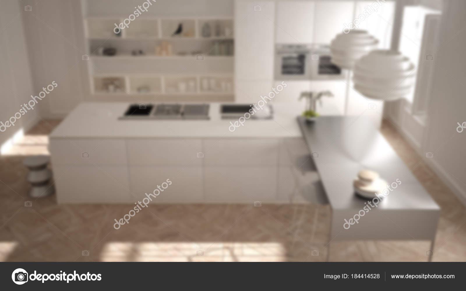Desenfoque de fondo diseño de interiores, muebles de cocina en la ...