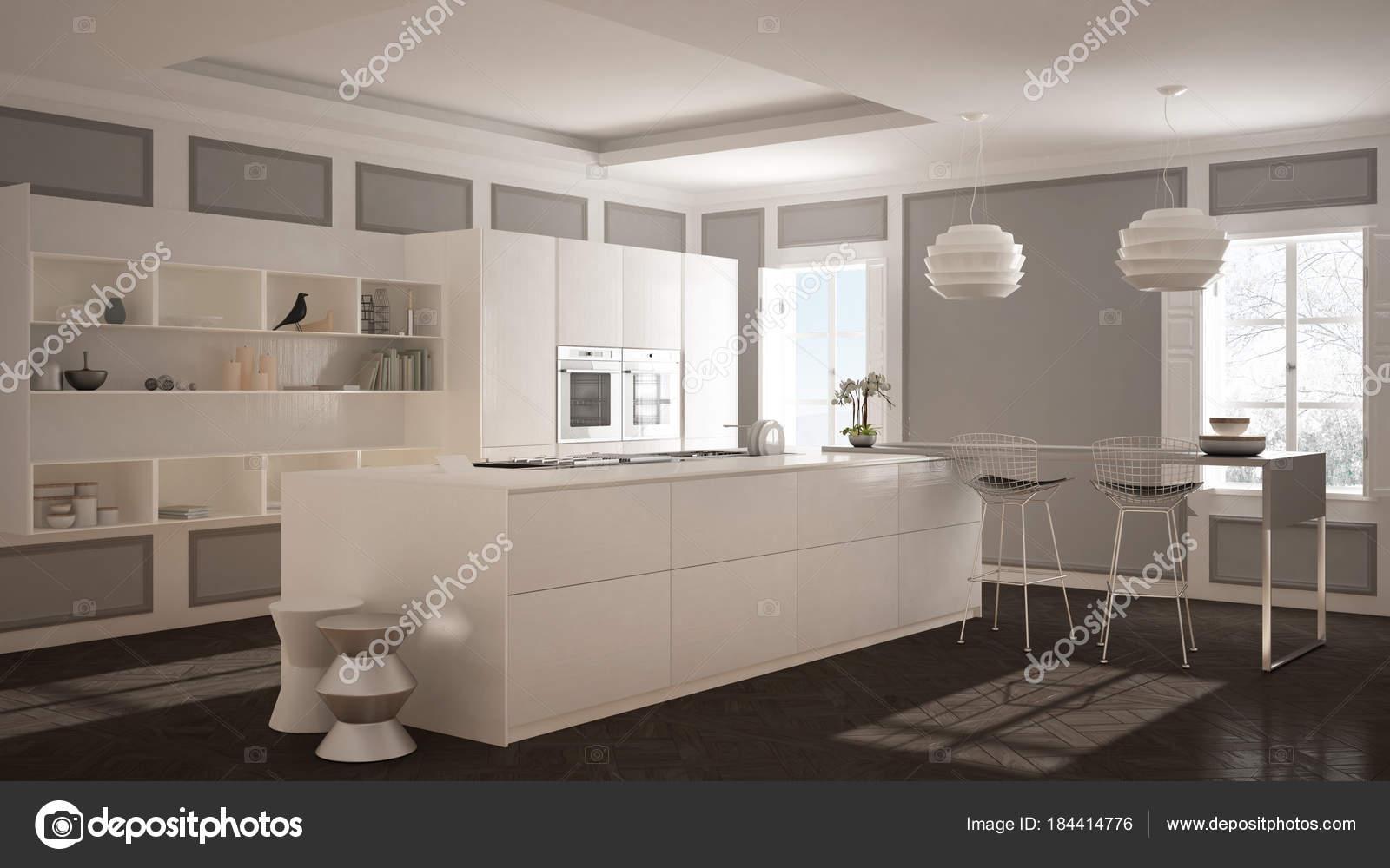 Meubles de cuisine moderne en chambre classique, parquet ancien ...