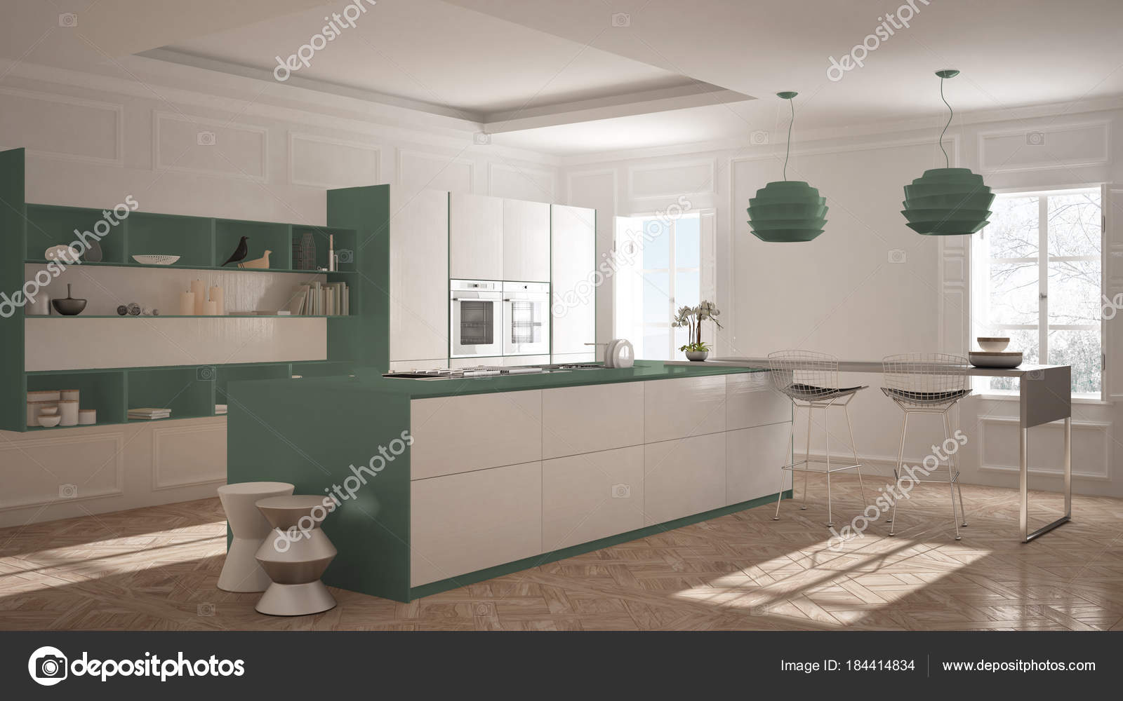 Moderne Kuchenmobel Im Classic Zimmer Altes Parkett Minimalis