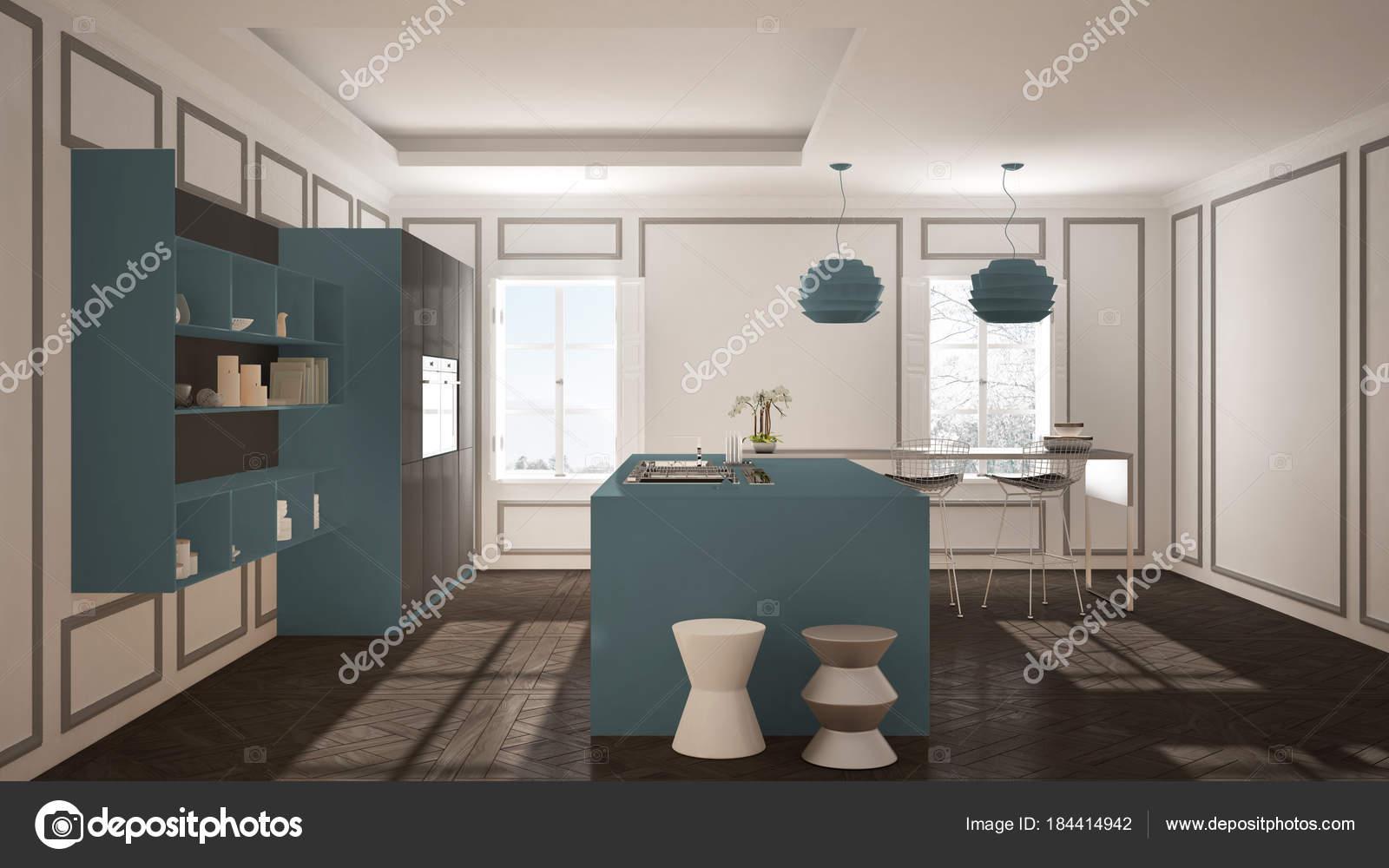Mobili cucina moderna in camera classic, vecchio parquet, minimalis ...