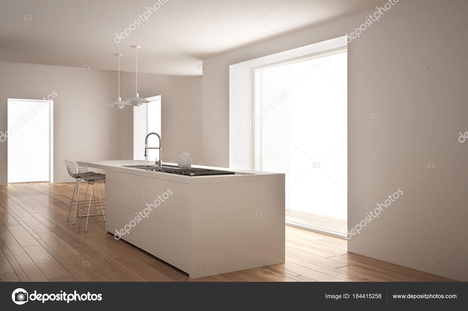 Cucina bianca moderna con isola e grande finestra, minimalista ...
