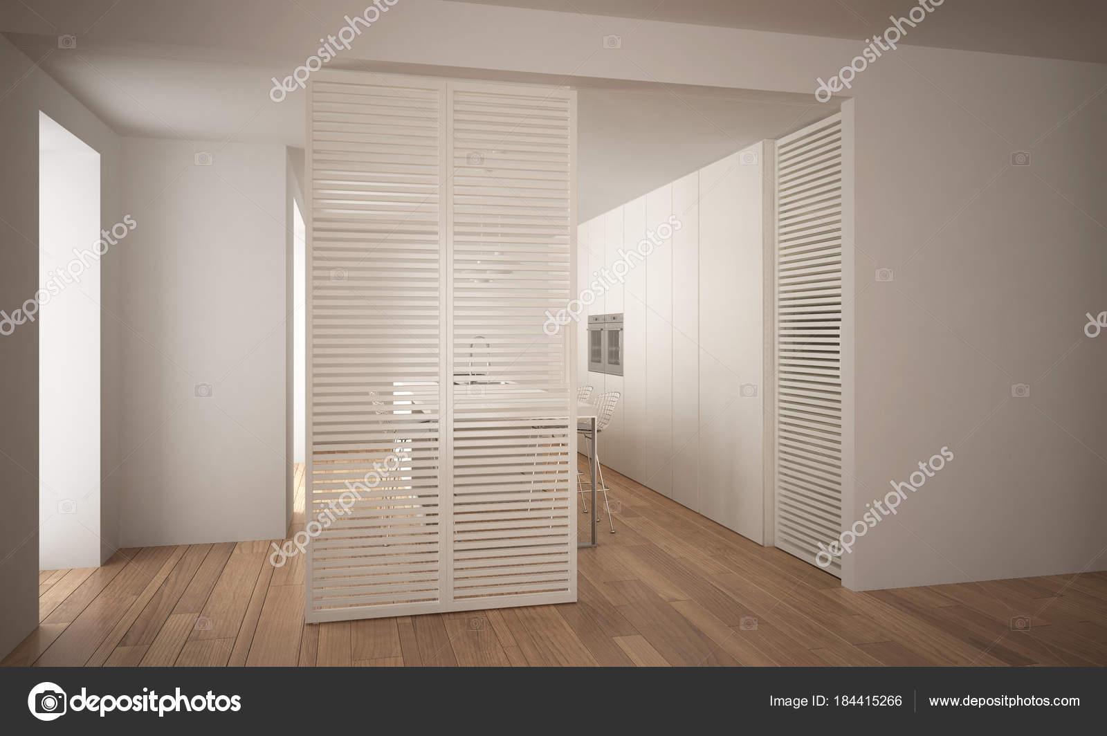 Moderna porta scorrevole con cucina nella progettazione ...