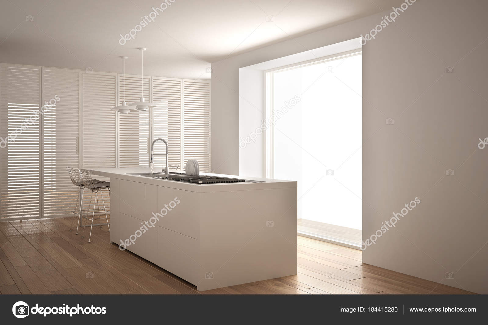 Moderne blanche cuisine avec îlot et grande fenêtre ...