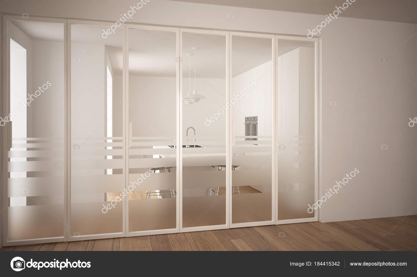 Moderne Schiebetür mit Küche im Hintergrund, weiße minimal ...