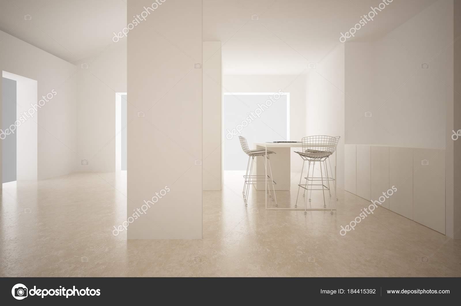 Pavimento In Pietra Calcarea : Spazio vuoto moderno con pavimento in pietra calcarea e cucina