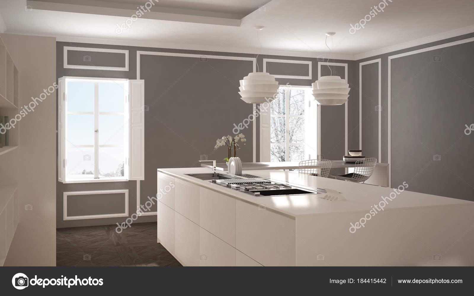 Sgabello Cucina Moderna : Cucina moderna in interni classici isola con sgabelli e due grande