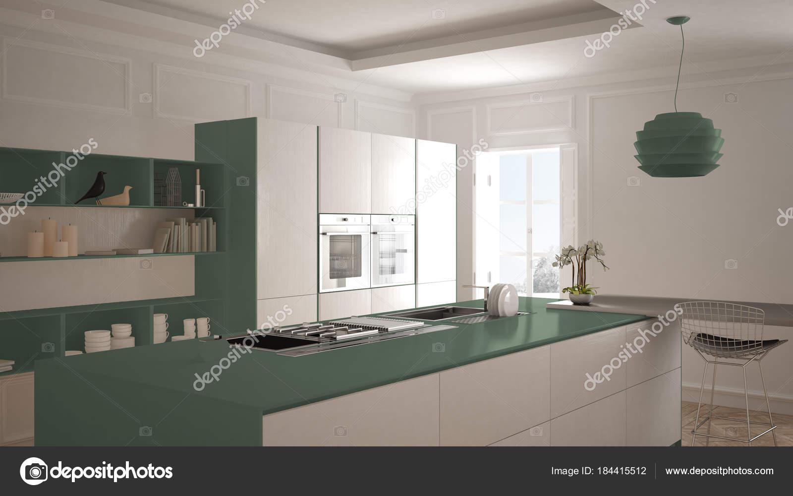 Cocina moderna en el interior clásico, isla con taburetes y dos ...