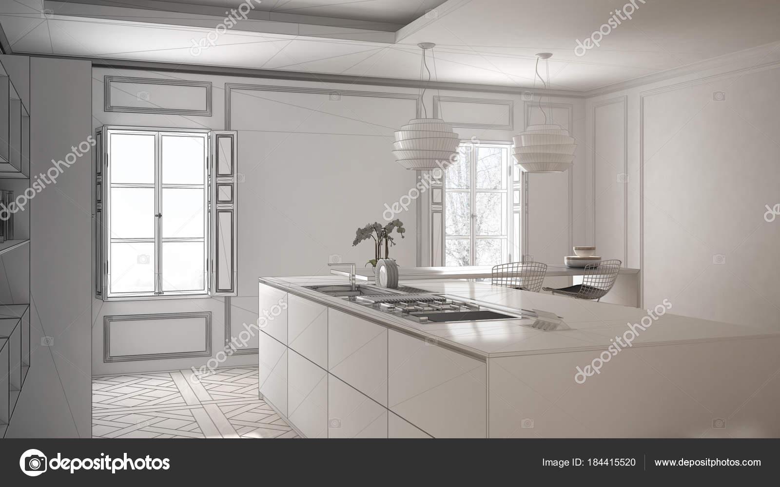 Unvollendete Projekt Der Moderne Kuchenmobel Im Classic Zimmer