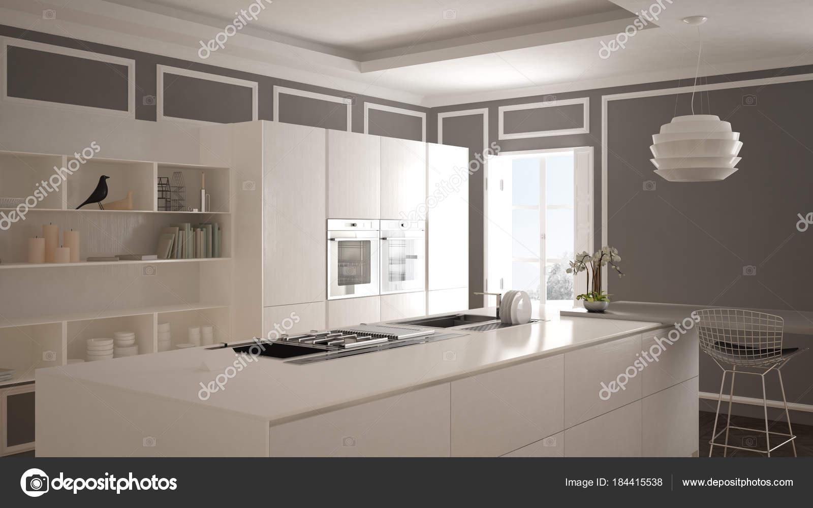 Faszinierend Moderne Küchen Mit Insel Sammlung Von Küche Im Klassischen Interieur, Hockern Und Zwei