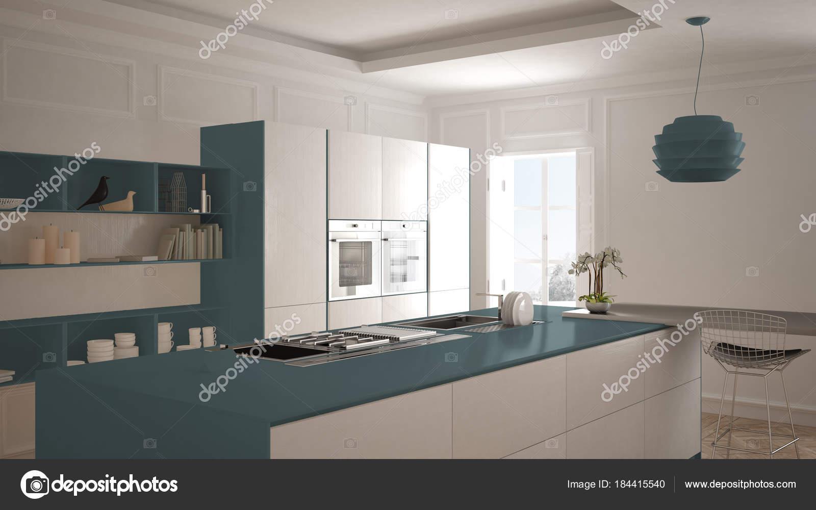 Cucina moderna in interni classici isola con sgabelli e due grande
