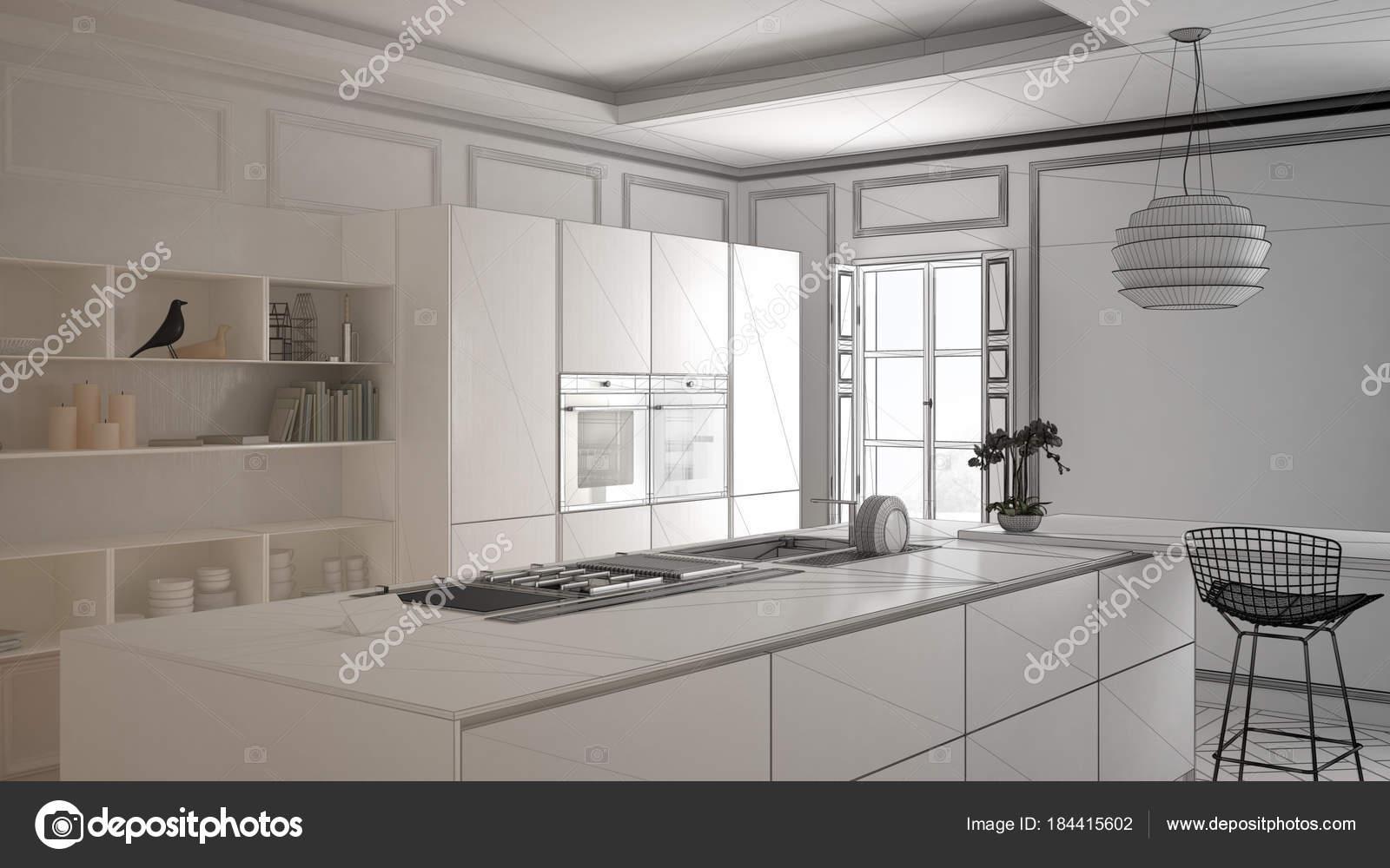 Progetto incompiuto di mobili da cucina moderni in camera classic ...
