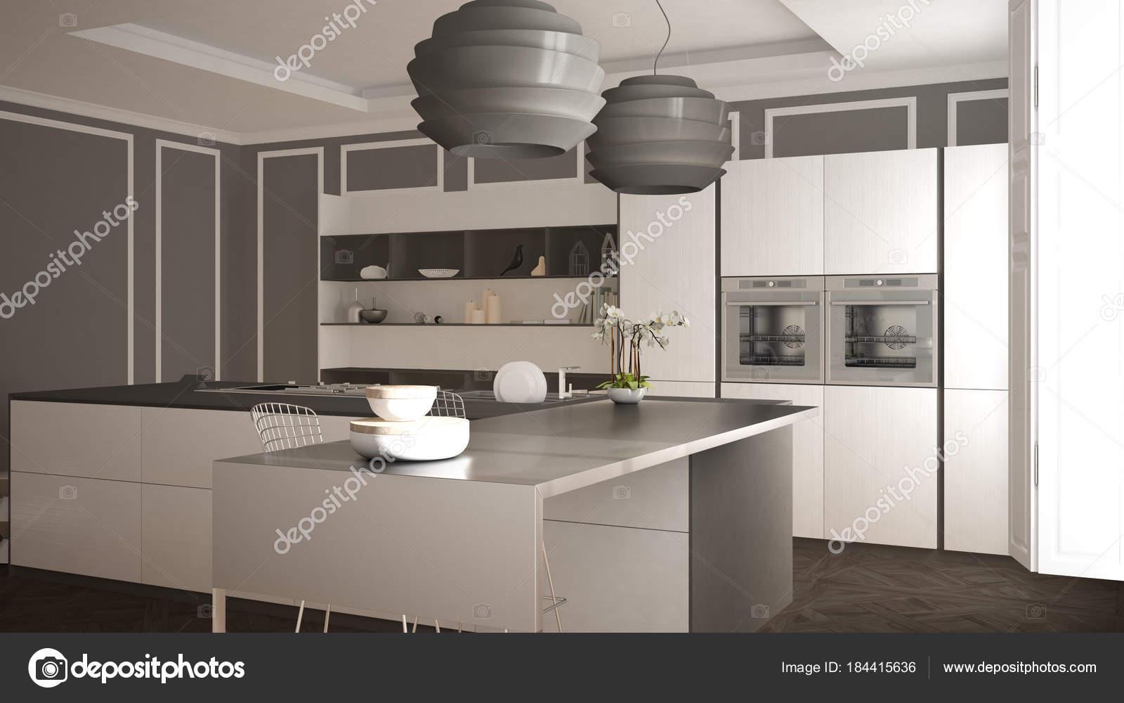 Cucina Moderna Con Sgabelli.Cucina Moderna In Interni Classici Isola Con Sgabelli E Due
