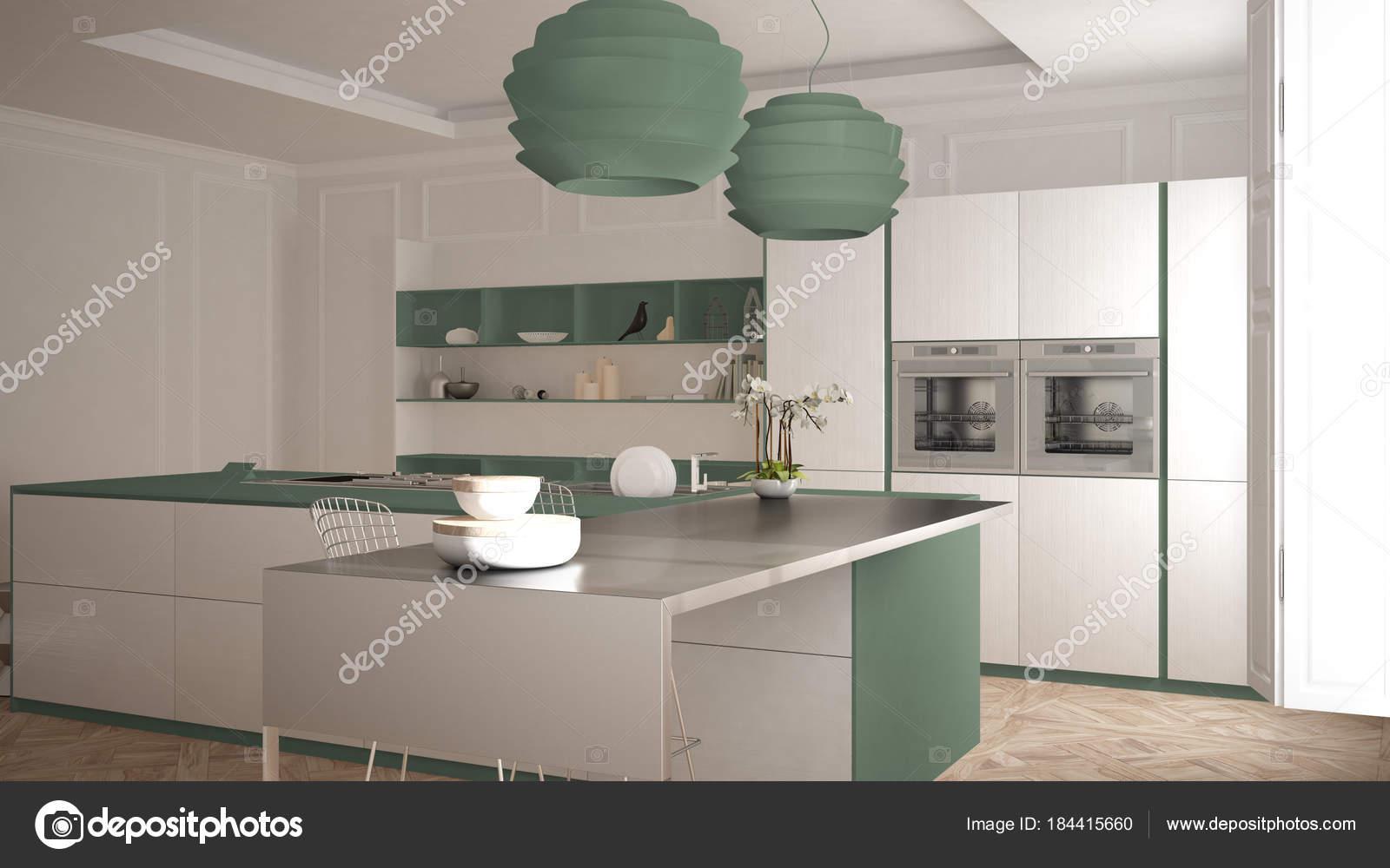 Cucina moderna in interni classici isola con sgabelli e due