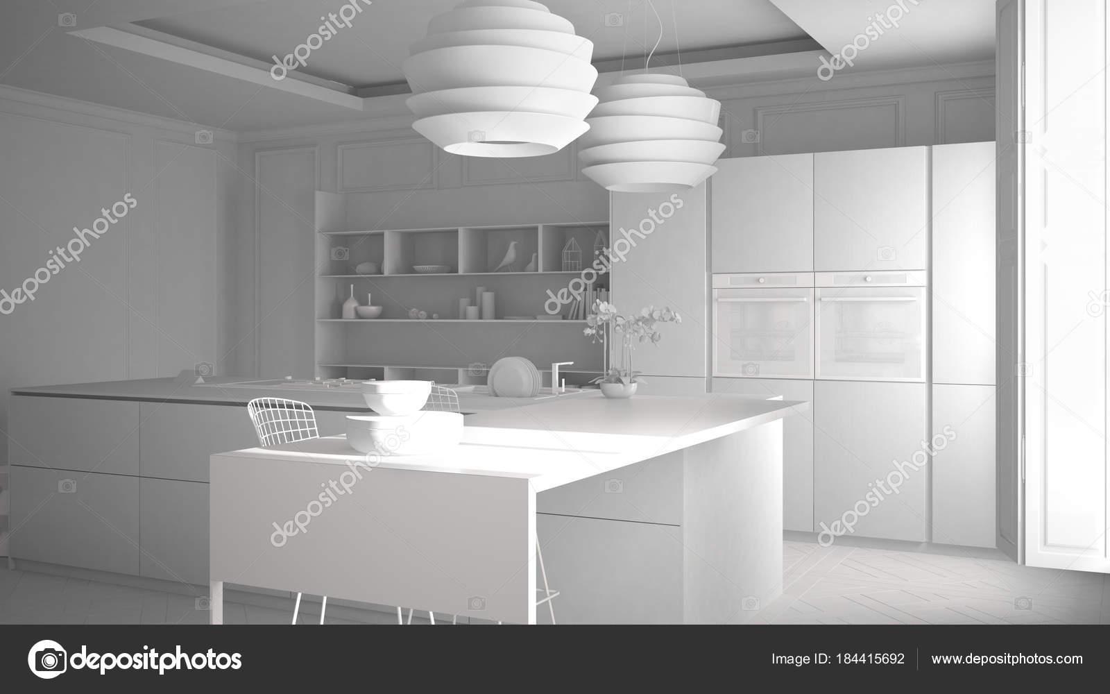 Total du projet de meubles de cuisine moderne en chambre classique ...