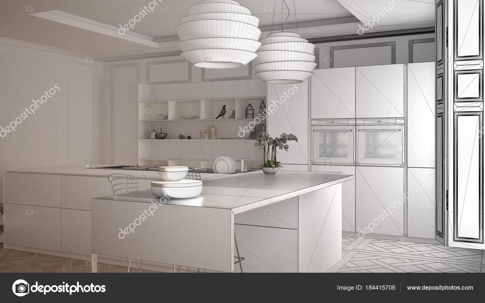 Progetto incompiuto di mobili da cucina moderni in camera ...