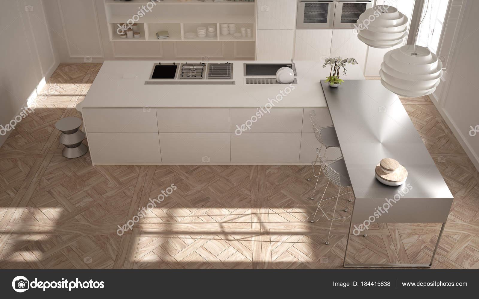Sgabelli Cucina Classici : Cucina moderna in interni classici isola con sgabelli e due