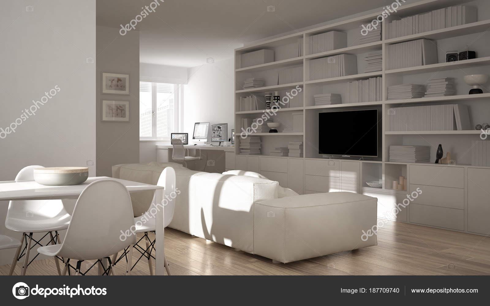 Modern Living Room With Workplace Corner Big Bookshelf And