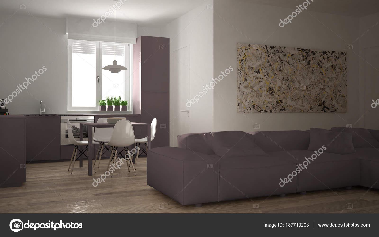 Moderne woonkamer met keuken in een gezellige open ruimte