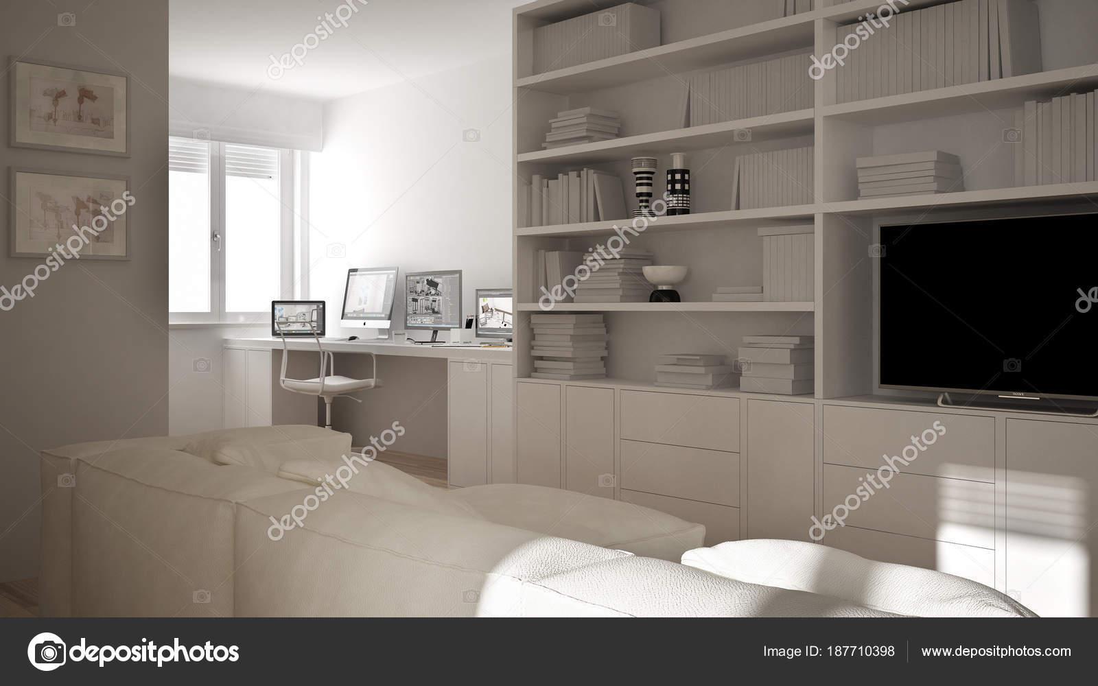 Moderne Boekenkast Wit.Moderne Woonkamer Met Werkplek Hoek Grote Boekenkast En Venster