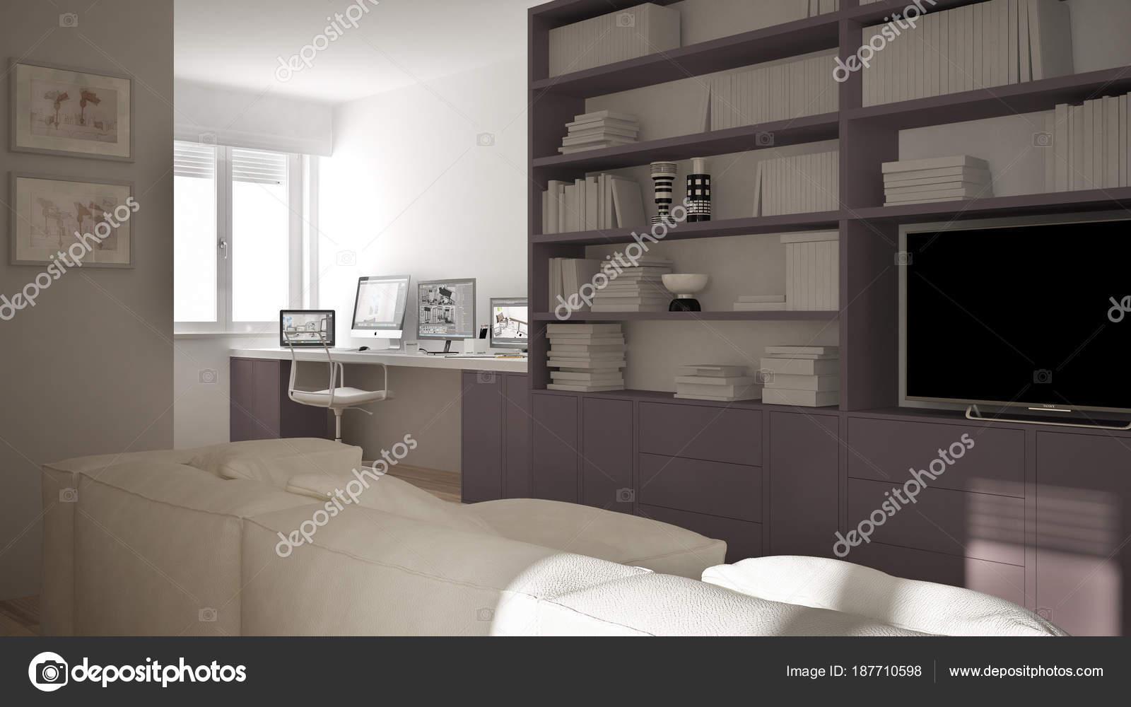Modern Living Room With Workplace Corner Big Bookshelf And Window Minimal White Red