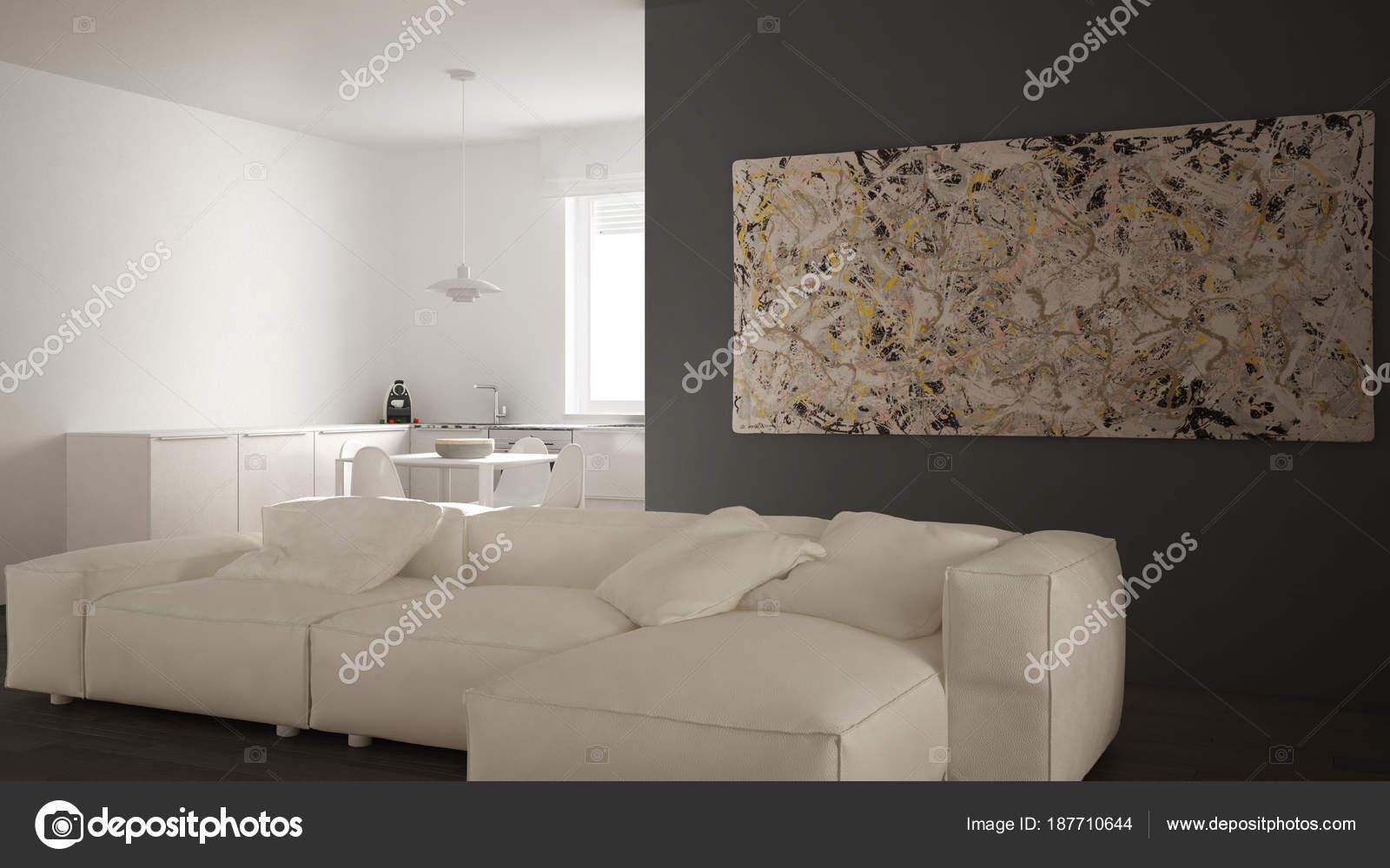 Salon Moderne Avec Cuisine Dans Un Espace Ouvert Confortable