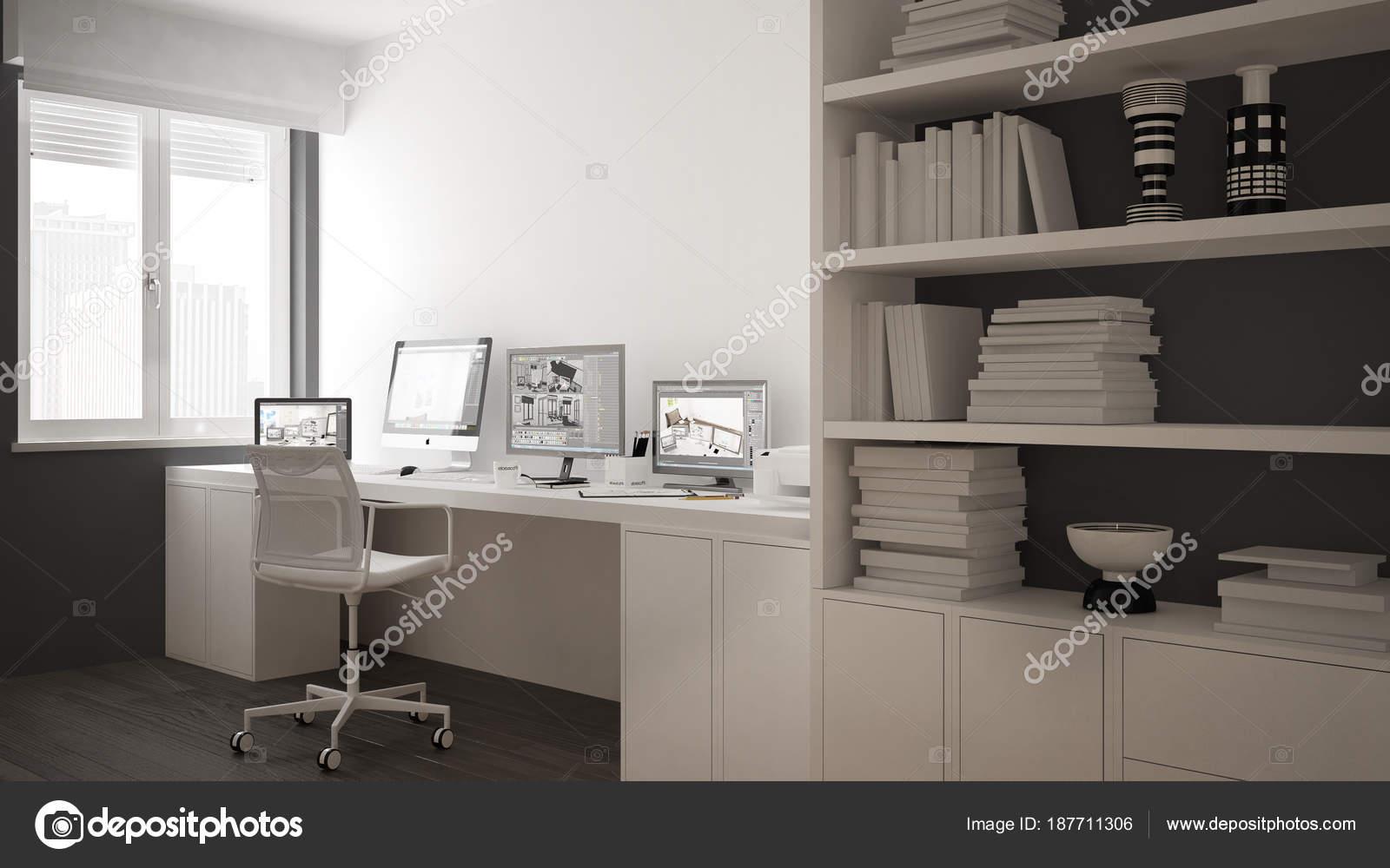Luogo di lavoro moderno in casa minimalista scrivania con computer