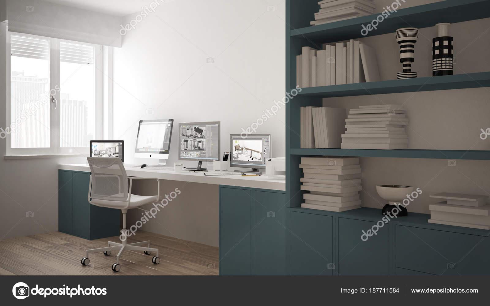 Moderner Arbeitsplatz In Minimalistischen Haus, Schreibtisch Mit Computer,  Großes Bücherregal, Gemütliche Weißen Und