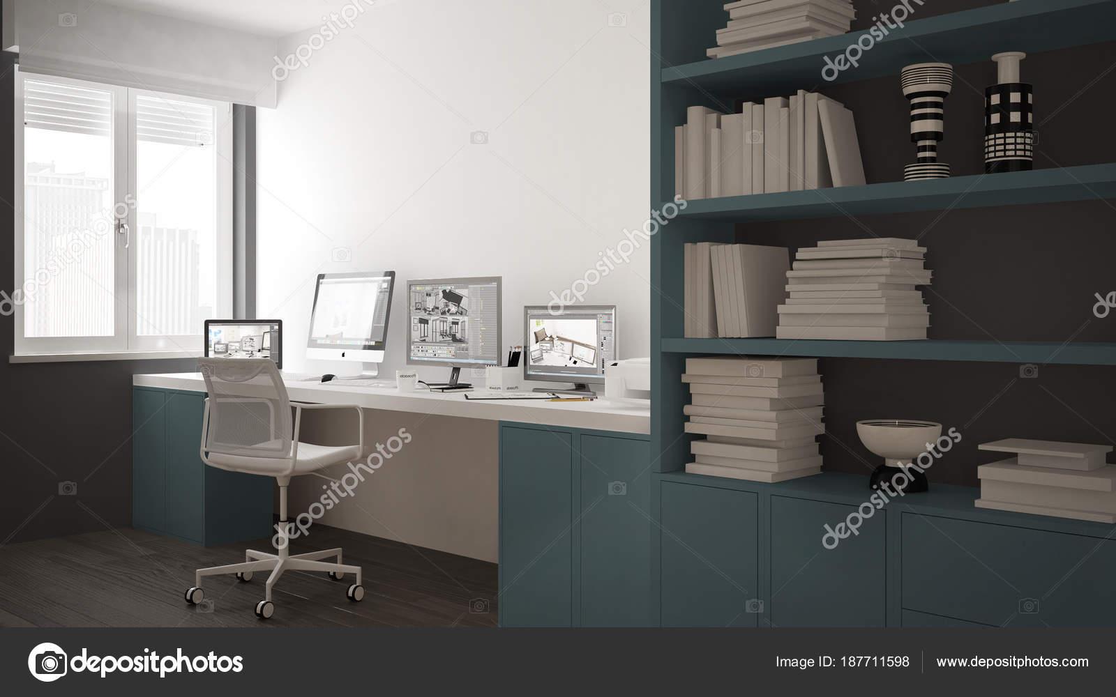 Moderne werkplek in minimalistische huis bureau met