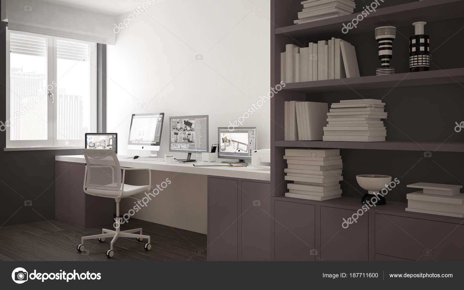 Scrivania Libreria Per Computer.Luogo Di Lavoro Moderno In Casa Minimalista Scrivania Con Computer