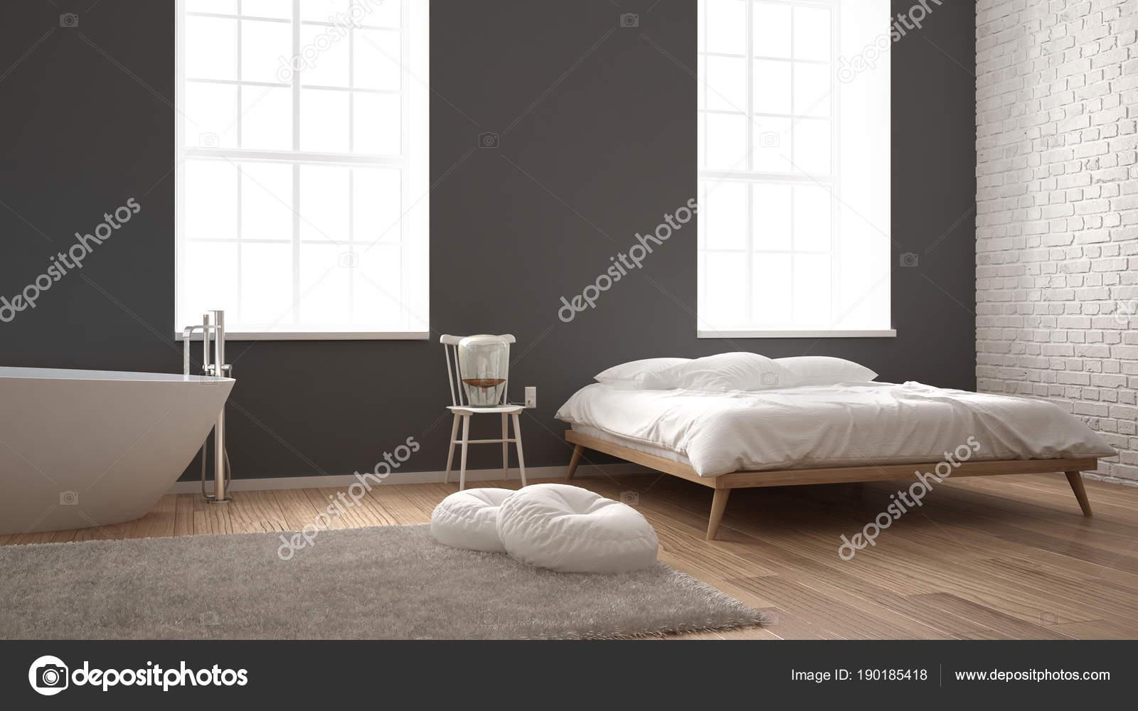 Camera da letto moderna industriale classico con grandi finestre ...