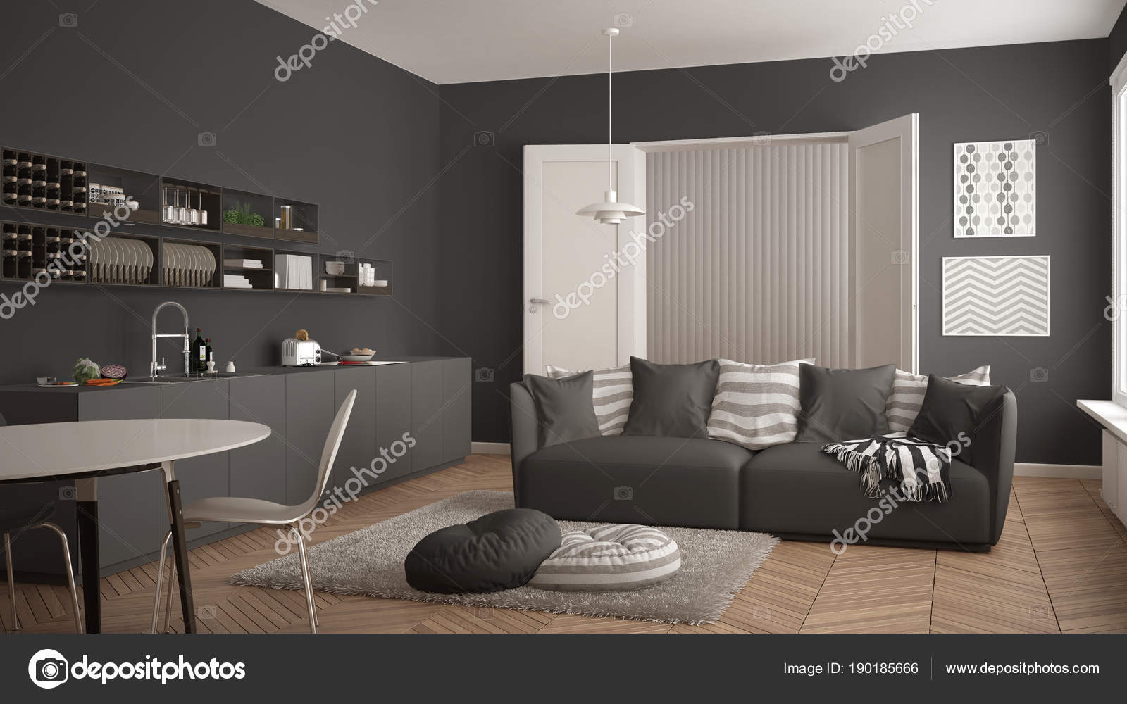 Scandinavo moderno salotto con cucina, tavolo da pranzo, divano e ...