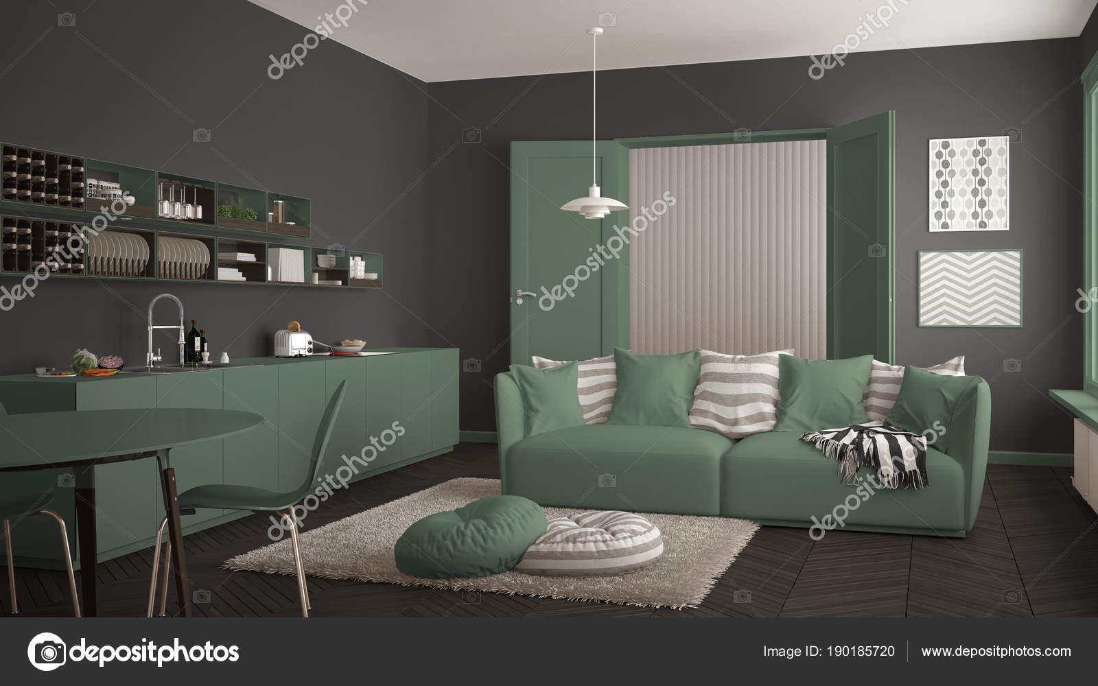 Tappeto Salotto Verde : Scandinavo moderno salotto con cucina tavolo da pranzo divano e