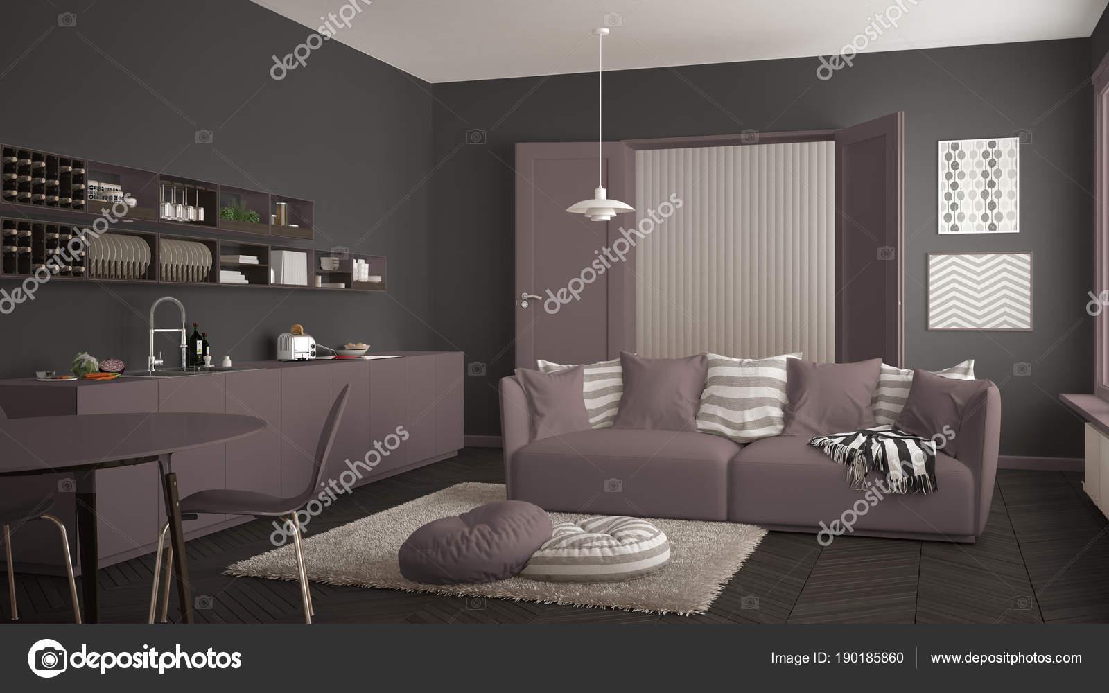 Design Eettafel Bank.Scandinavische Moderne Woonkamer Met Keuken Eettafel Bank En