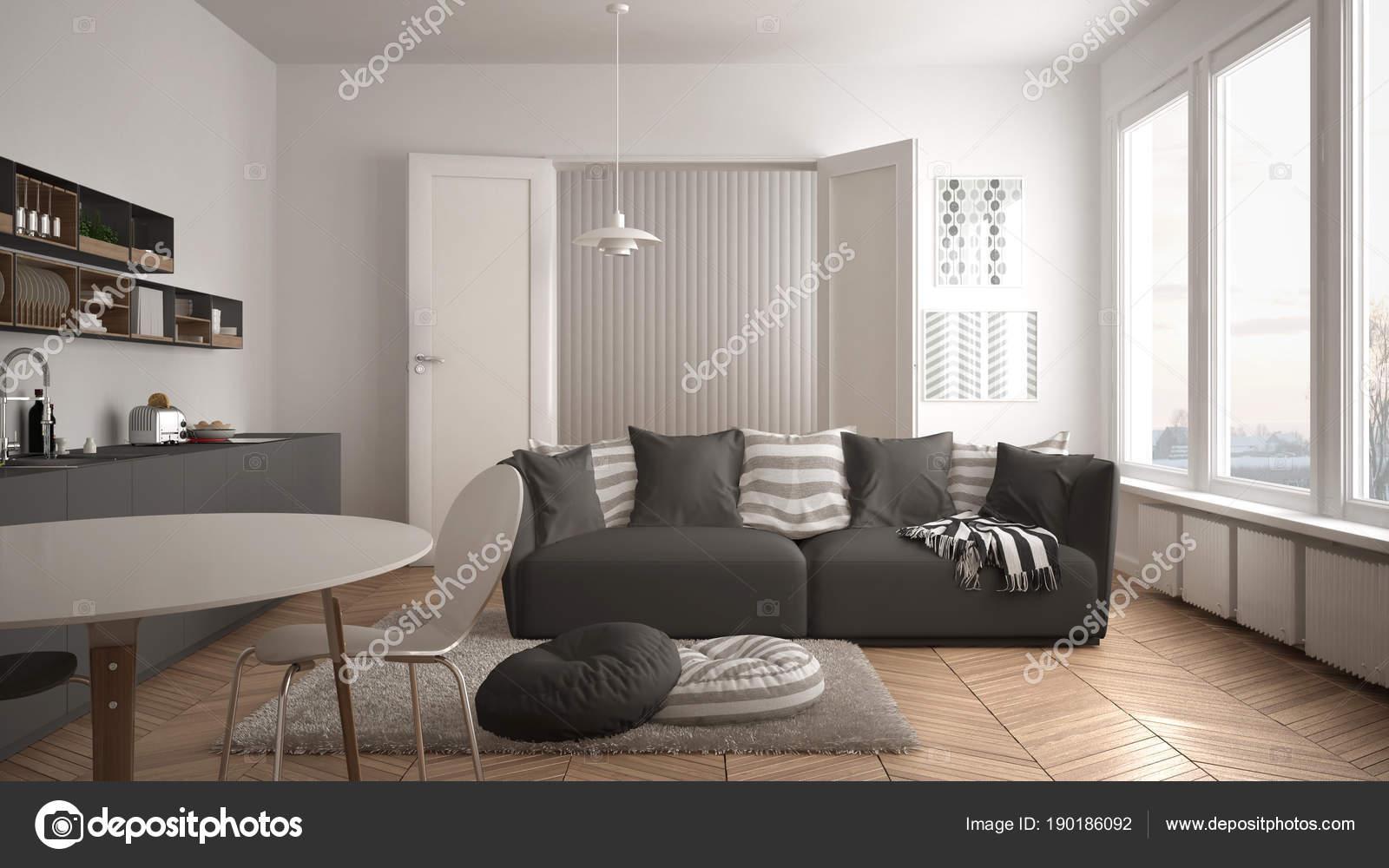 Salotto Moderno Bianco E Grigio : Scandinavo moderno salotto con cucina tavolo da pranzo divano e
