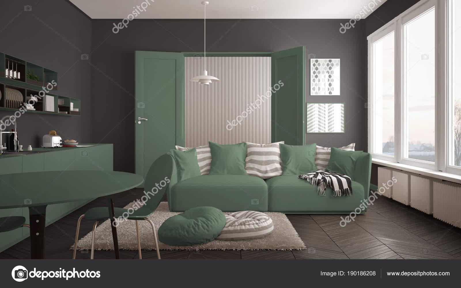 Scandinavische moderne woonkamer met keuken eettafel bank en