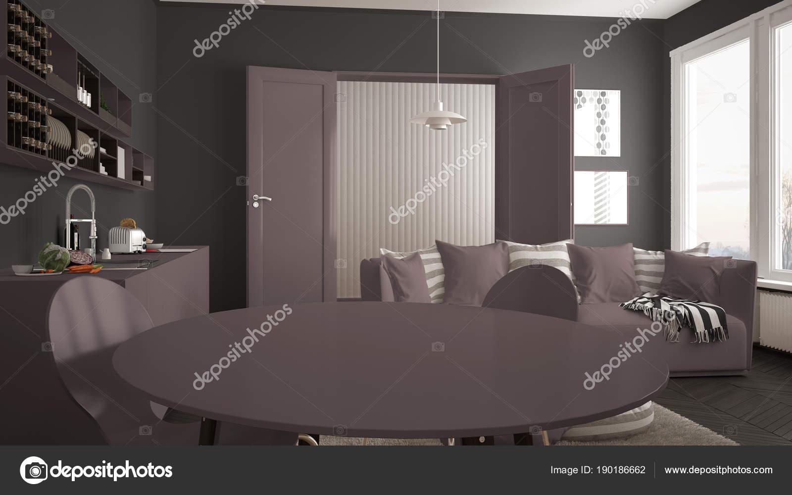 Scandinave moderne salle de séjour avec cuisine, table à ...