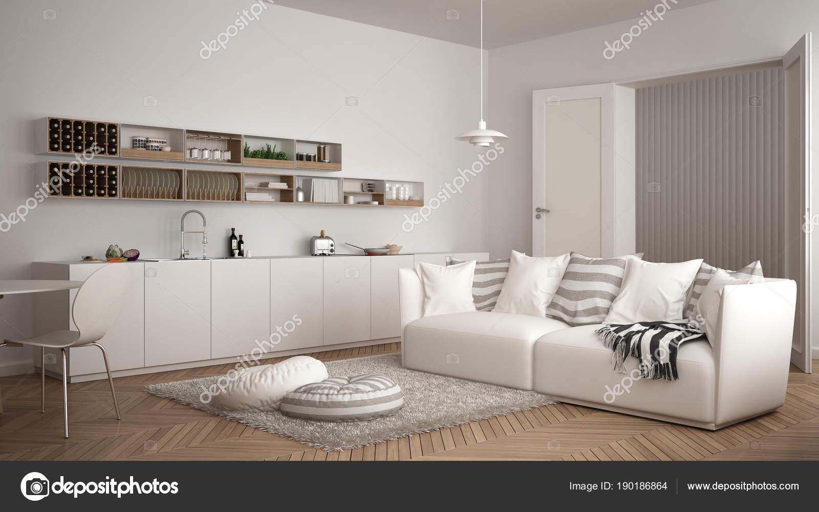 Escandinava moderna sala con cocina, mesa comedor, sofá y ...