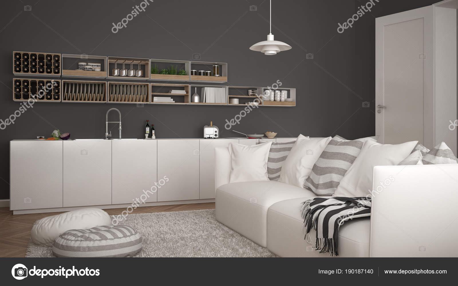 Salotto Moderno Bianco E Grigio : Scandinavo moderno salotto con cucina divano e tappeto con cuscini