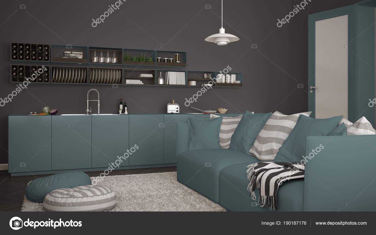 Scandinavische moderne woonkamer met keuken bank en tapijt met