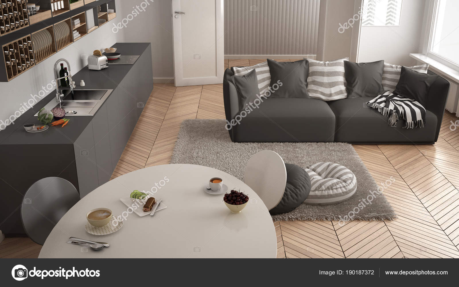 Enjoyable Healthy Sweet Breakfast In Modern Scandinavian Kitchen Ocoug Best Dining Table And Chair Ideas Images Ocougorg