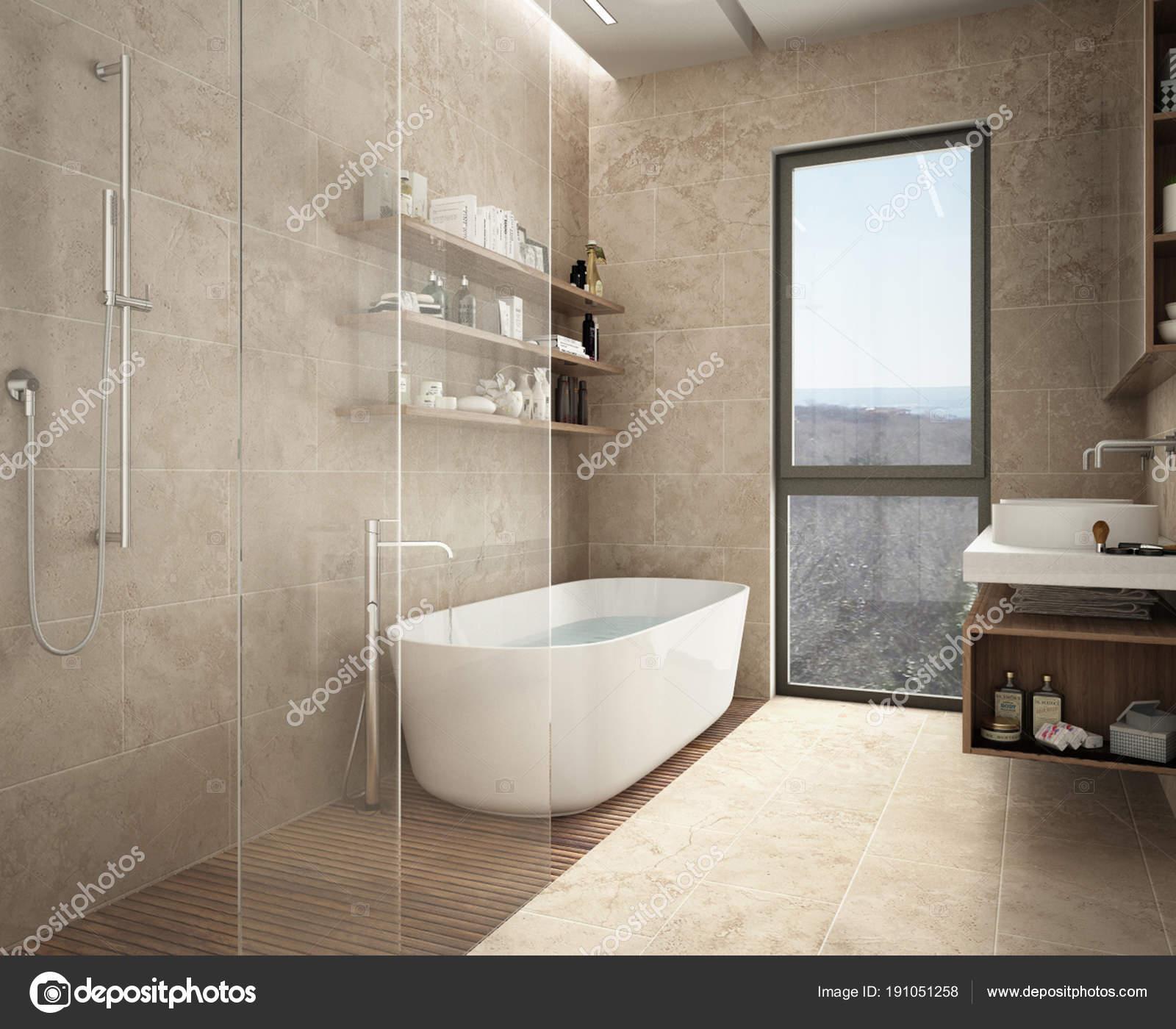 Salle de bain moderne calcaire, baignoire et douche, étagères à ...
