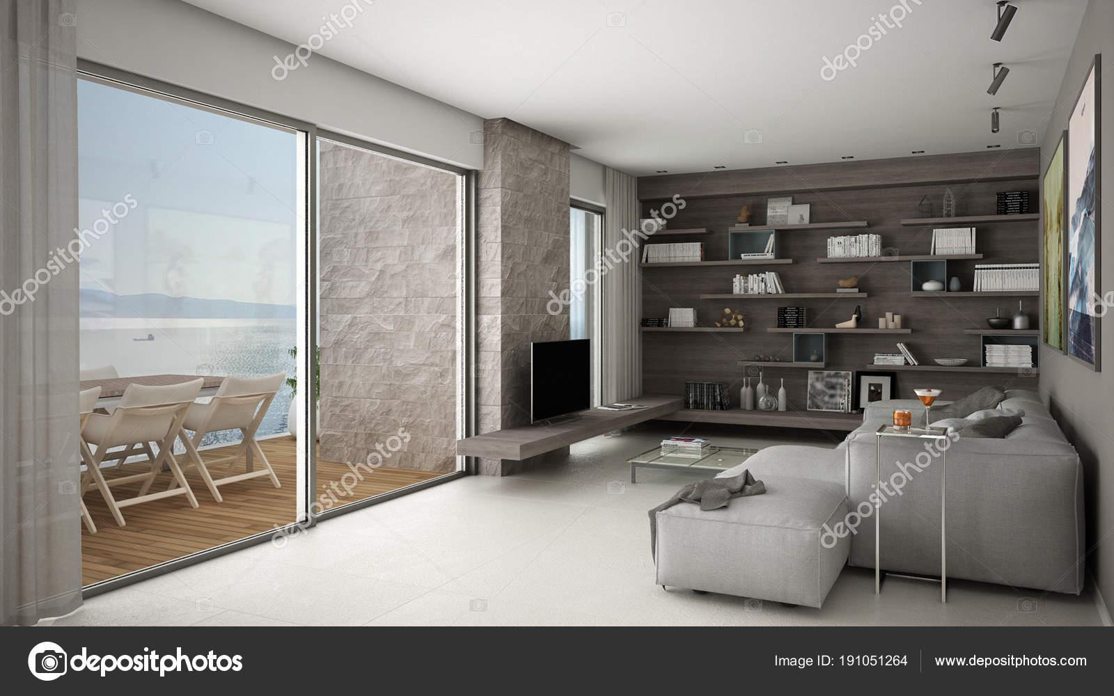 Moderno soggiorno open space con divano e ripiani, grande finestra ...