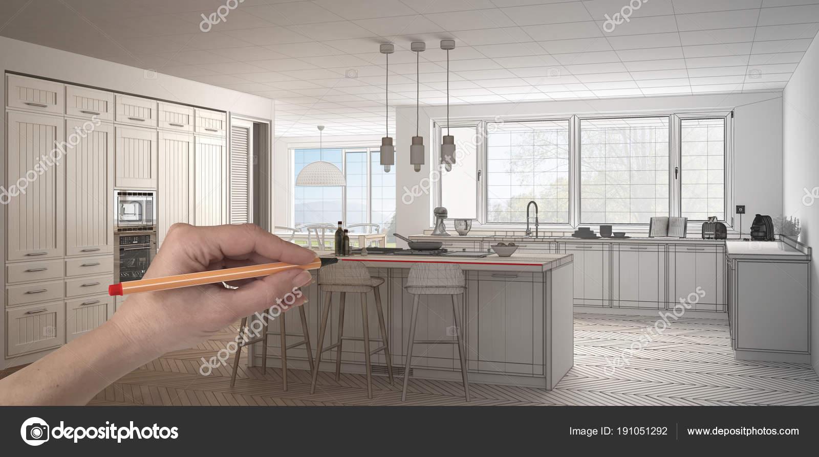 Cucina su misura in legno e bianco classico con isola e sgabelli