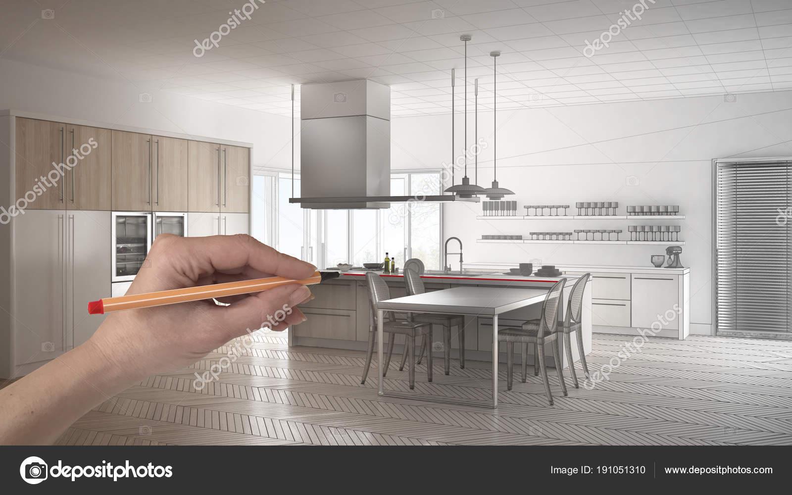 M O De Desenho Personalizada Minimalista Branca E De Madeira Cozinha